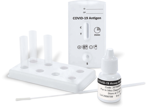 COVID-19 Antigen-Schnelltest mit Testkassette, sterilem Abstrichtupfer, Extraktionsröhrchen inkl. Tropfaufsätze, Reagenzienhalter und Pufferfläschchen